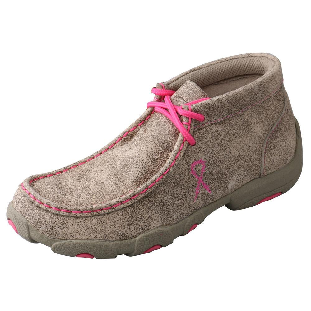 'Twisted X' Kids' Chukka Driving Moc - Dusty Tan / Neon Pink