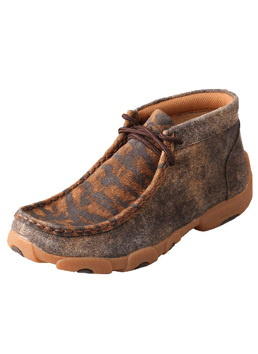 'Twisted X' Kids' Driving Moccasin - Distressed Tiger