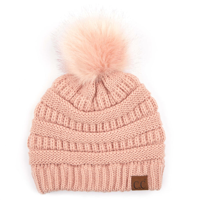 'C.C®' Classic Solid Ribbed Beanie - Indi Pink
