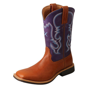 "'Twisted X' Youth 9"" Western Square Toe - Tan / Purple"