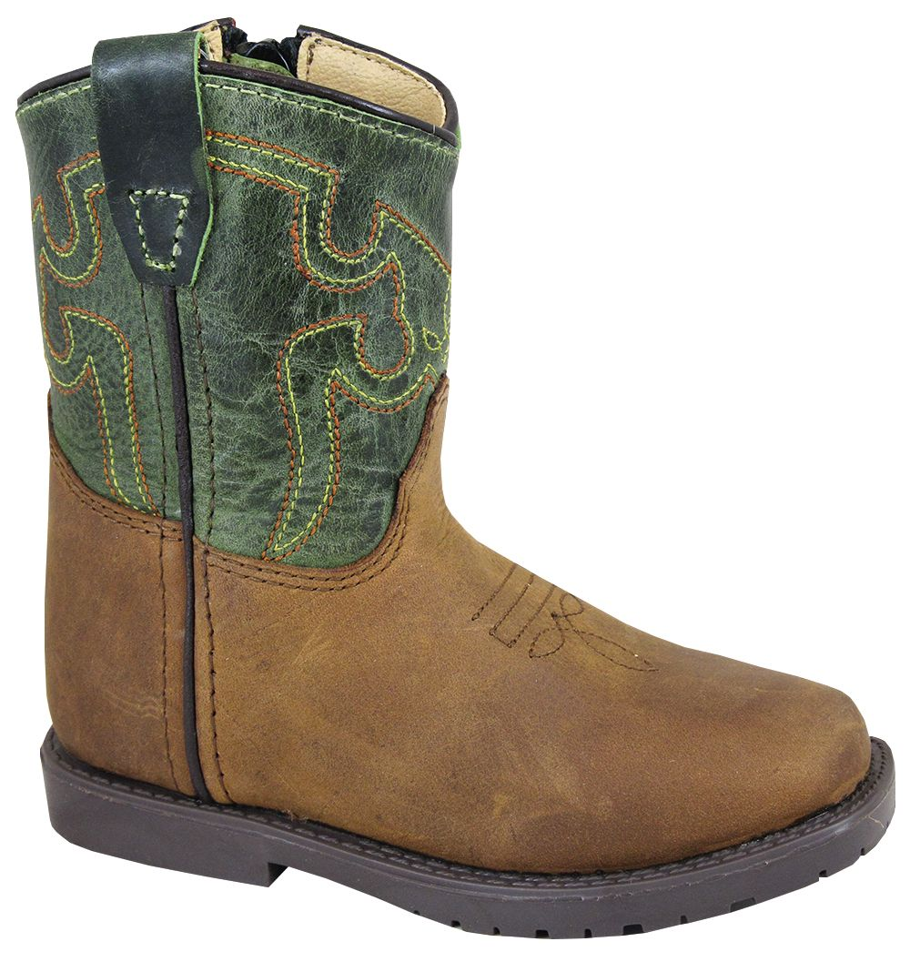'Smoky Mountain' Toddler Autry Western Square Toe - Brown Distress / Green Crackle
