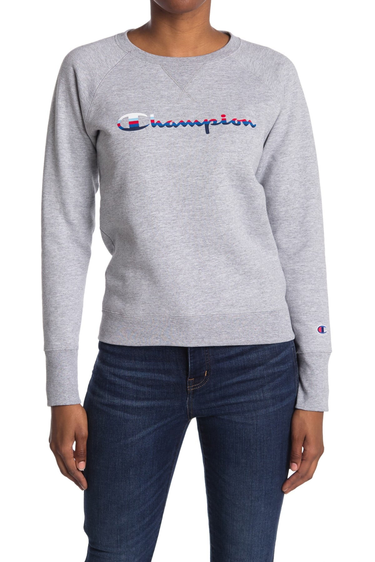 'Champion' Women's Powerblend Graphic Crew Pullover - Oxford Grey