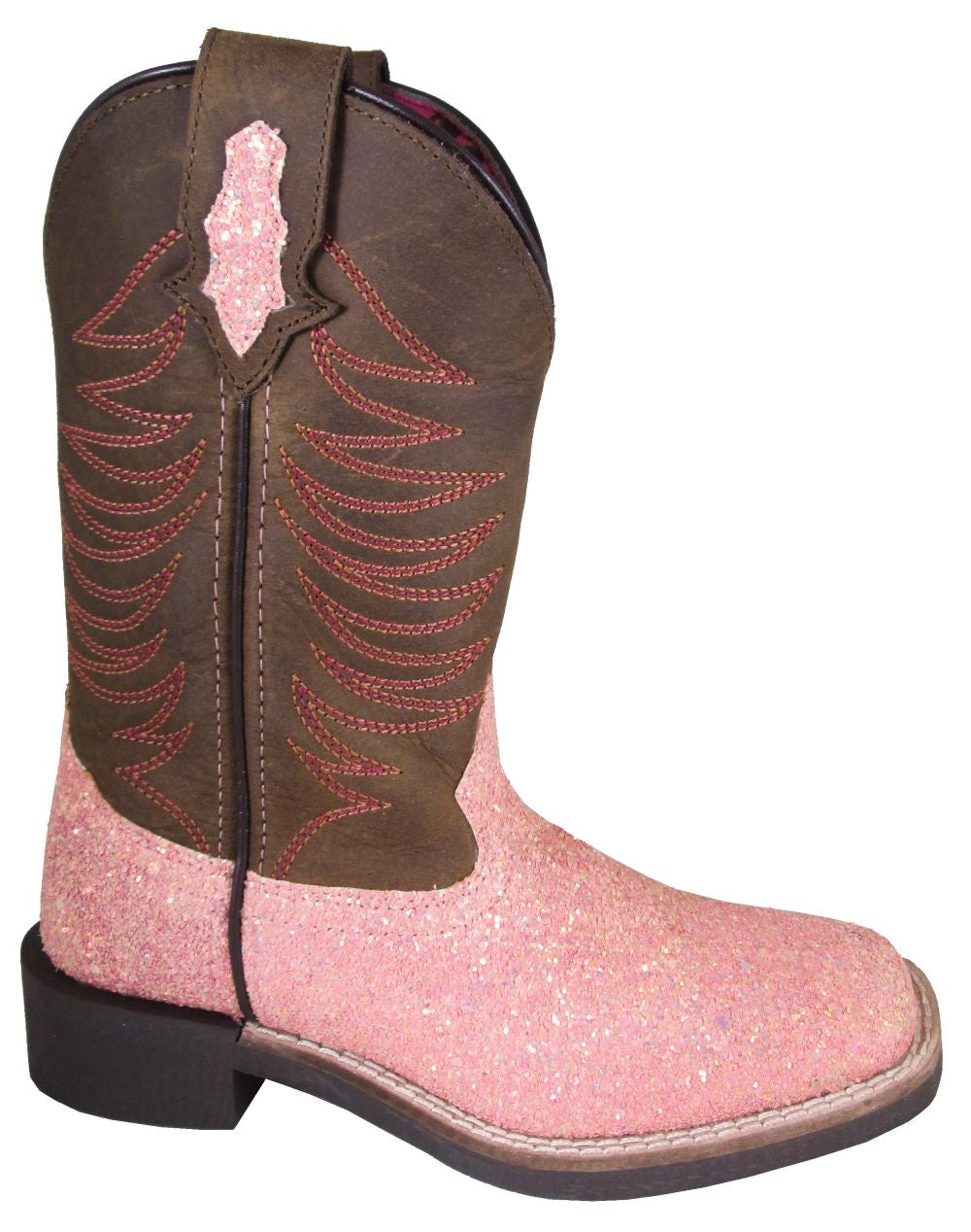 'Smoky Mountain' Children's Ariel Western Square Toe - Pink Glitter / Crazy Horse