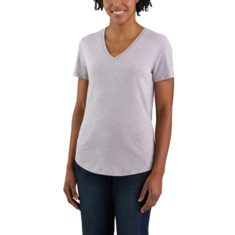 'Carhartt' Women's Relaxed Midweight V-Neck T-Shirt - Gull Grey Heather