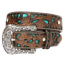 "'Ariat' A1513402 - 1 1/2"" Women's Leather Belt - Brown / Turquoise / Silver"