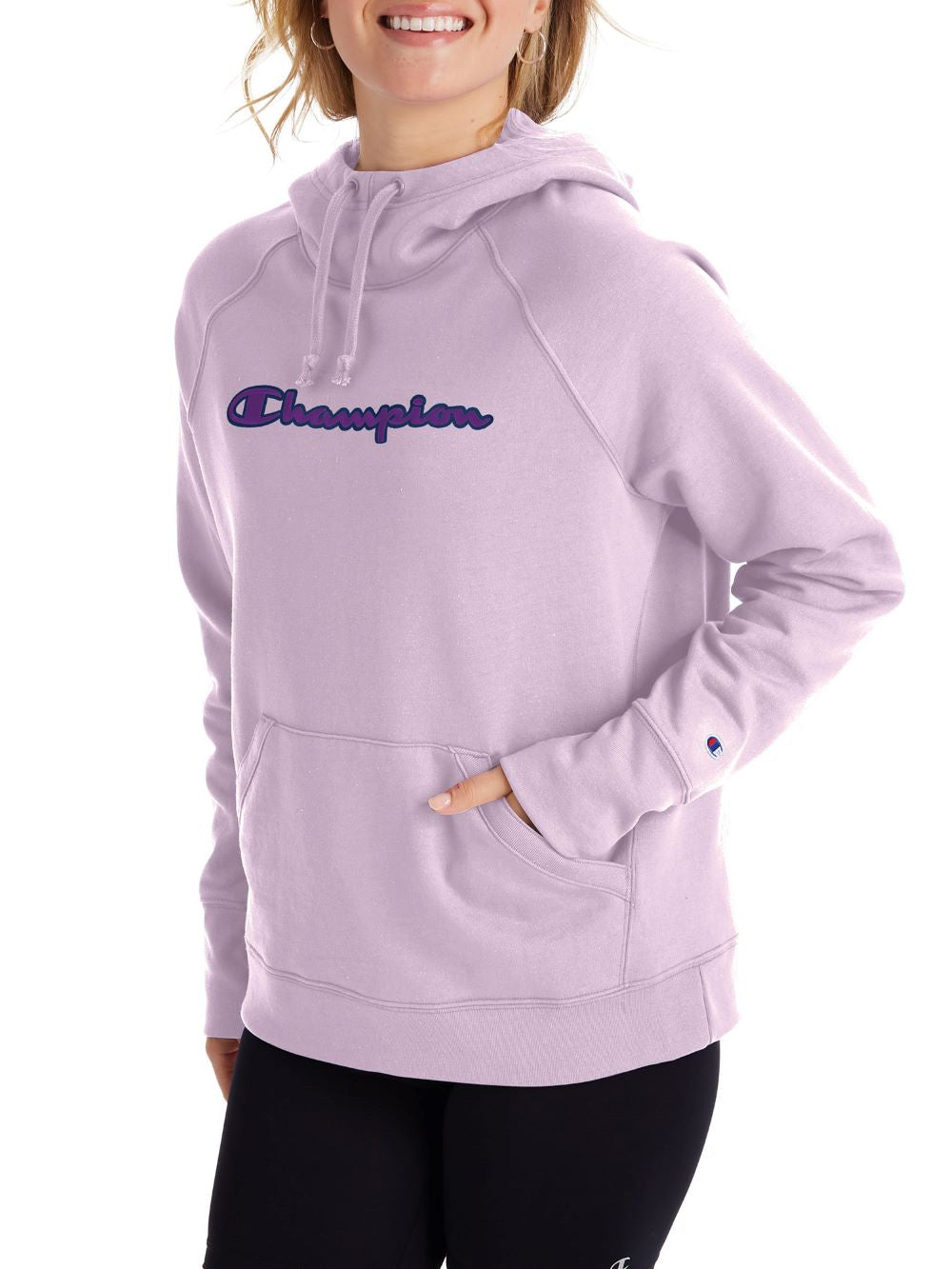 'Champion' Women's Powerblend Applique Hoodie - Water Iris