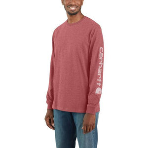 'Carhartt' Men's Heavyweight Sleeve Logo T-Shirt - Blush Pink Heather