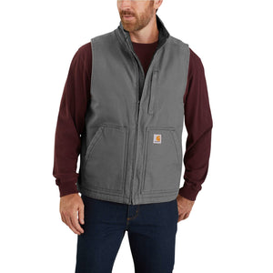 'Carhartt' Men's Duck Sherpa Lined Vest - Gravel
