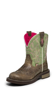 "'Justin' Women's 8"" Gemma - Moss Green / Brown Gator"