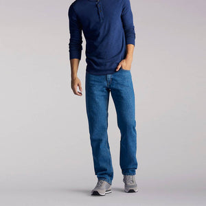 'Lee' Men's Regular Fit Straight Leg Jeans - Pepper Stone
