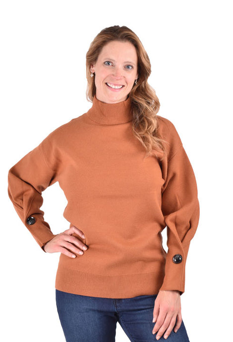 'Ethyl' LL5541 - Women's Pullover Mock Neck Sweater - Burnt Orange
