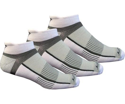 Inferno No-Show Tab 3-Pack Socks - White / Light Gray / Heather Gray