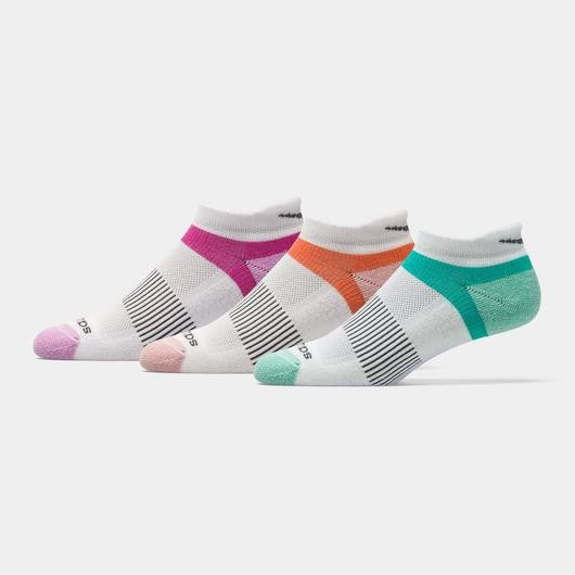 'Saucony' Women's Inferno 3-Pack Running Socks - White / Orange / Magenta / Turquoise