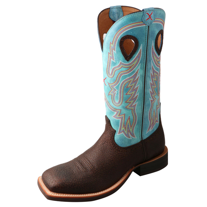'Twisted X' Men's Ruff Stock Western Square Toe - Distressed Brown / Blue