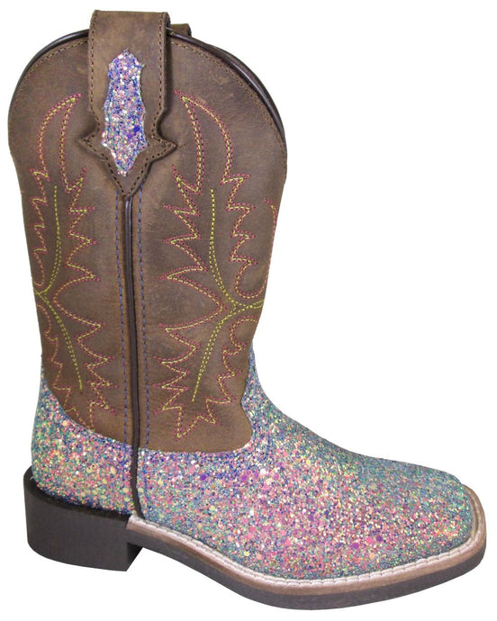 'Smoky Mountain' Children's Ariel Western Square Toe - Pastel Glitter / Crazy Horse