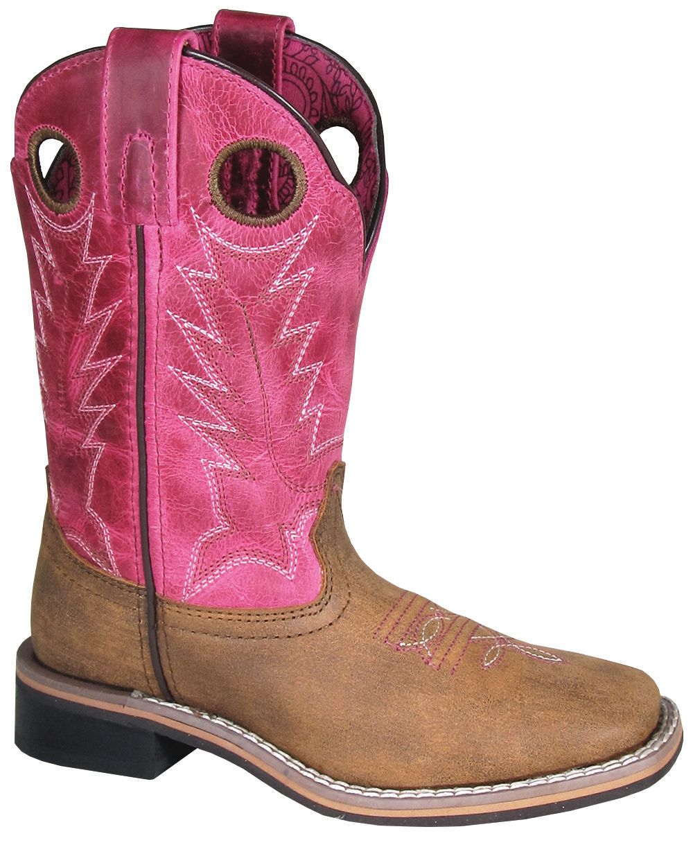 'Smoky Mountain' Children's Tracie Western Square Toe - Brown Distress / Pink Distress