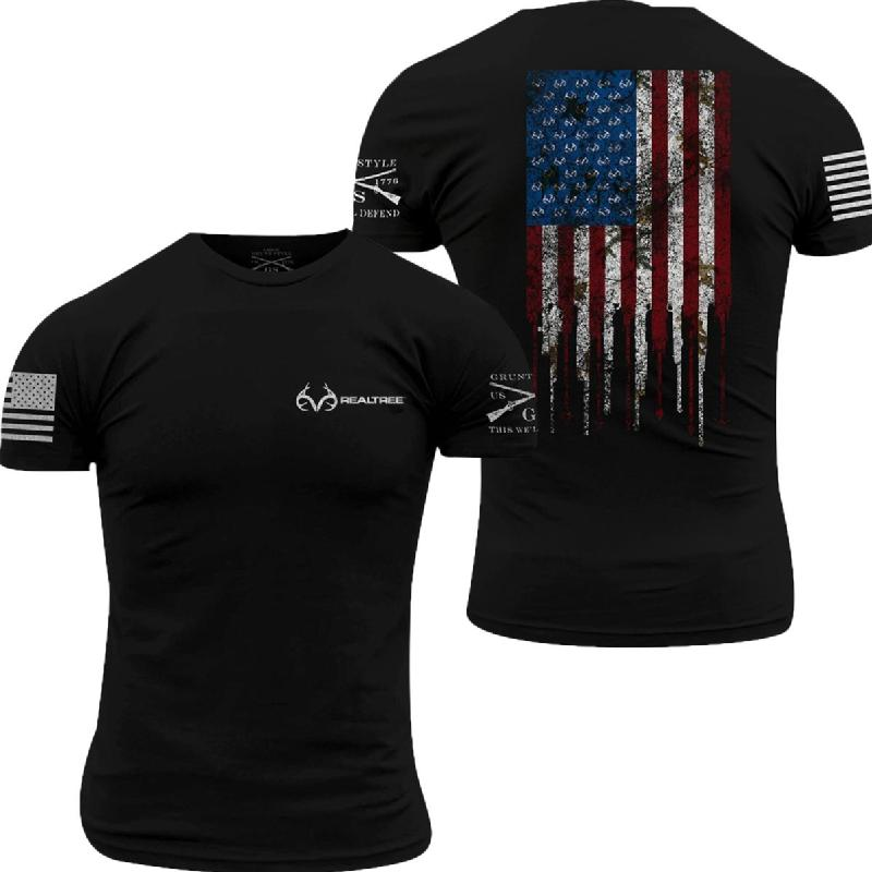 'Grunt Style' Men's Realtree AP Snow®Hunting Flag Tee - Black