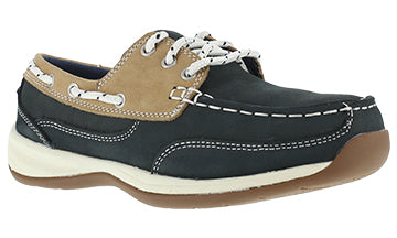 'Rockport Works' Women's Sailing Club ESD Steel Toe - Navy / Tan