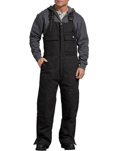 'Dickies' Men's Flex Sanded Duck Insulated Bib Overalls - Black
