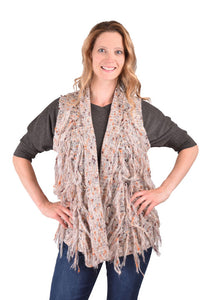 'Ethyl' TM1108GY - Knit Vest w/Fringe - Tan
