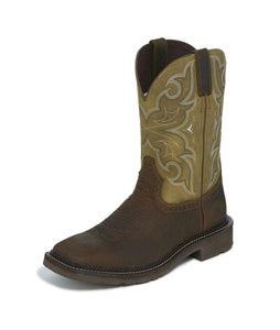 "'Justin' Men's 11"" Amarillo - Chocolate / Cactus Green"