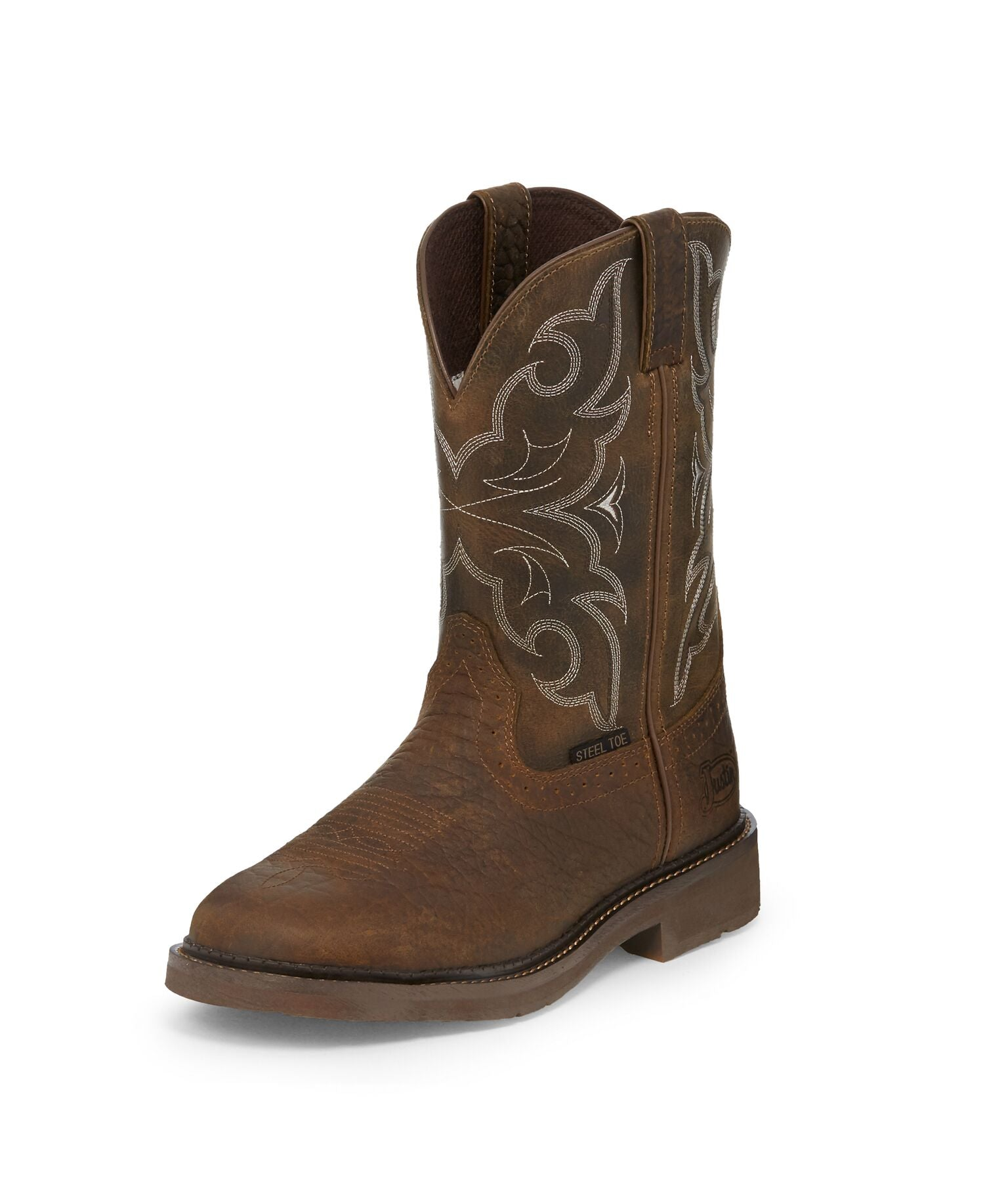 'Justin' WK4311 - Amarillo Steel Toe Cowboy Boot - Chocolate / Beige