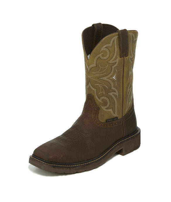'Justin' Men's Amarillo Steel Toe - Chocolate Tomboni / Cactus Green