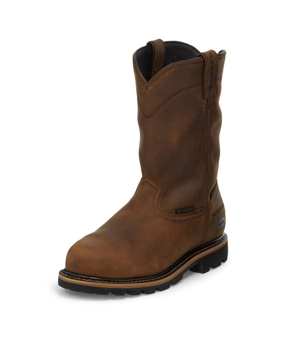 Pulley Waterproof Internal Met Guard Boot - Brown / Dark Tan