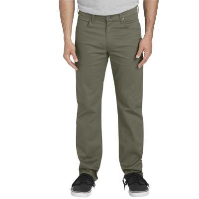 Flex Straight Leg 5 Pocket Pants - Rinsed Moss Green