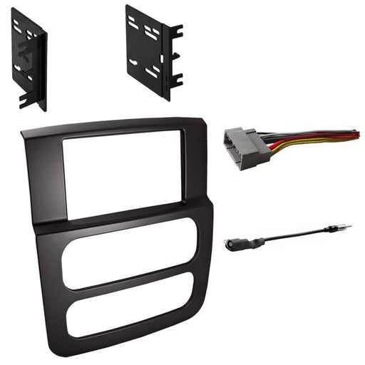 Double DIN Radio Dash Kit for 2002-2005 Dodge Ram with Antenna Adapter & Harness