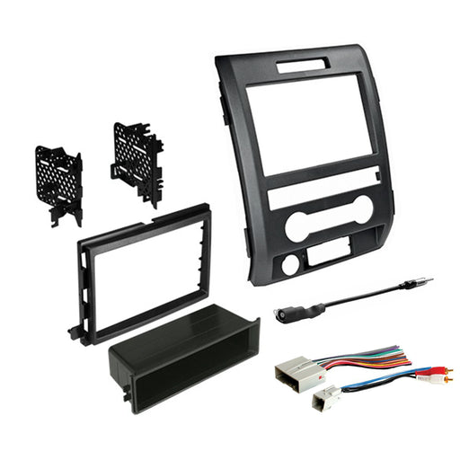 Single or Double DIN Dash Kit for 2009-2014 Ford F150XL with Antenna Adapter & Harness