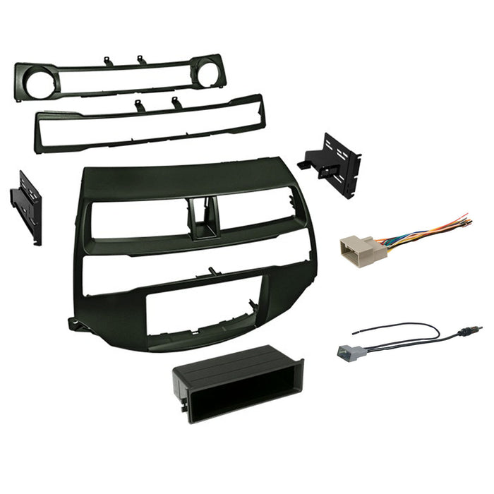 Double DIN Dash Kit for 2008-2012 Honda Accord with Antenna Adapter & Harness  - Dark Metallic