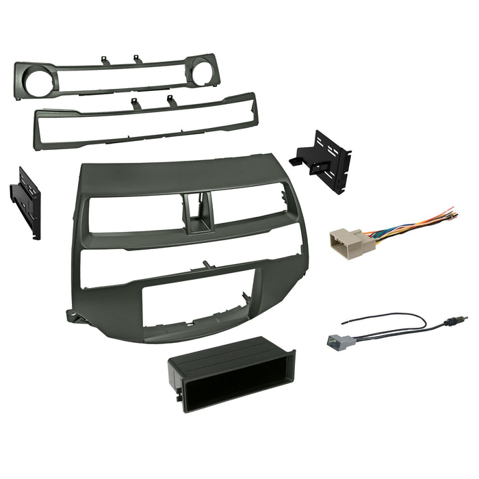 Double DIN Dash Kit for 2008-2012 Honda Accord with Antenna Adapter & Harness - Metallic Taupe