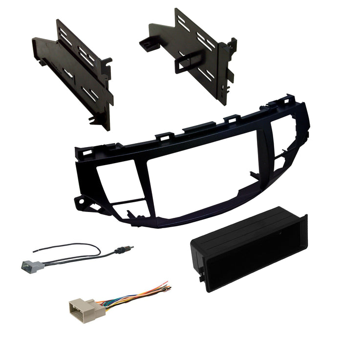 Double DIN Dash Kit with OEM Navigation for 2008-2012 Honda Accord with Antenna Adapter & Harness - Dark Metallic