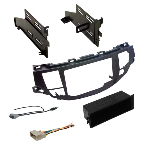 Double DIN Dash Kit with OEM Navigation for 2008-2012 Honda Accord with Antenna Adapter & Harness - Metallic Taupe