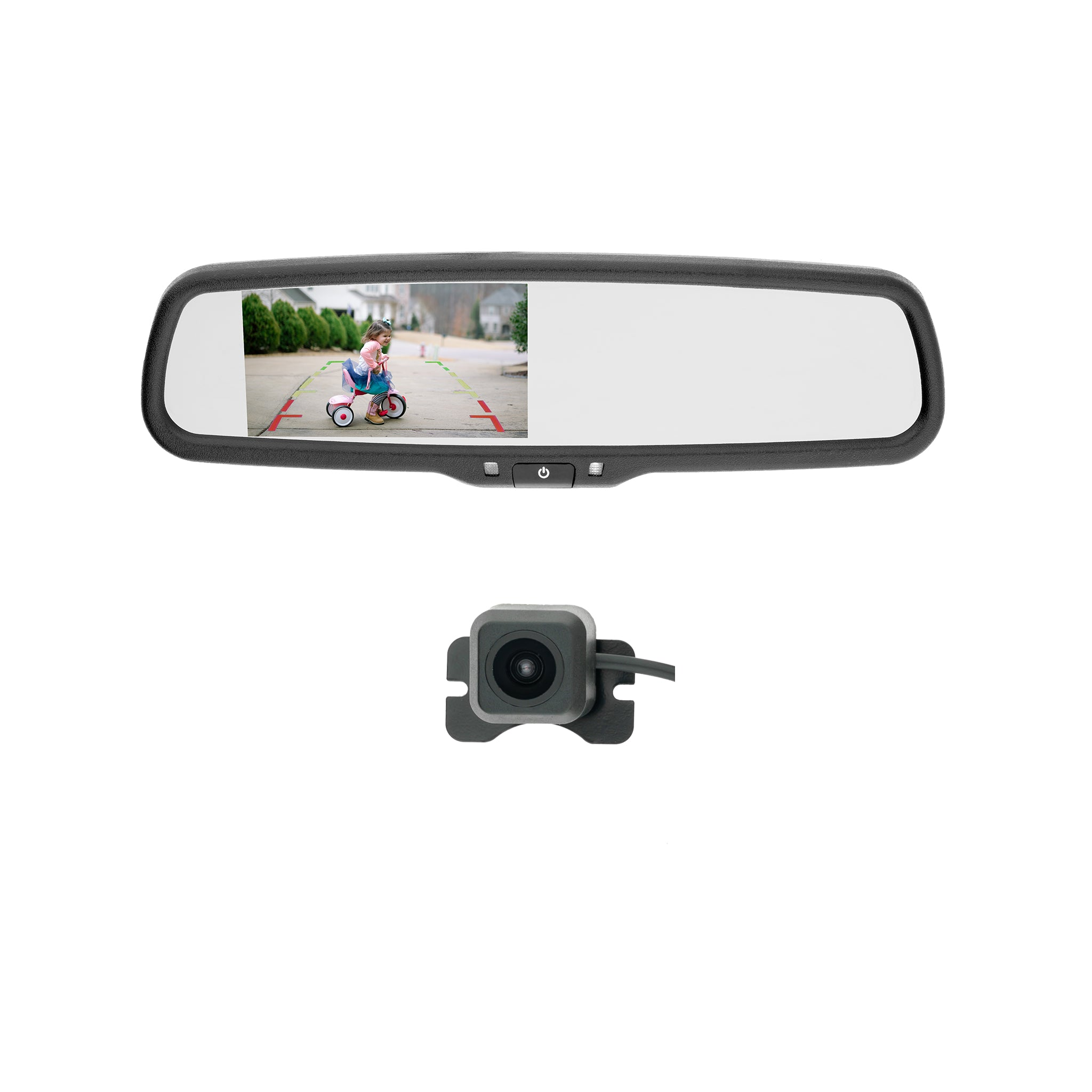 Backup Camera Kit with Rearview Mirror Monitor & Lip Mount
