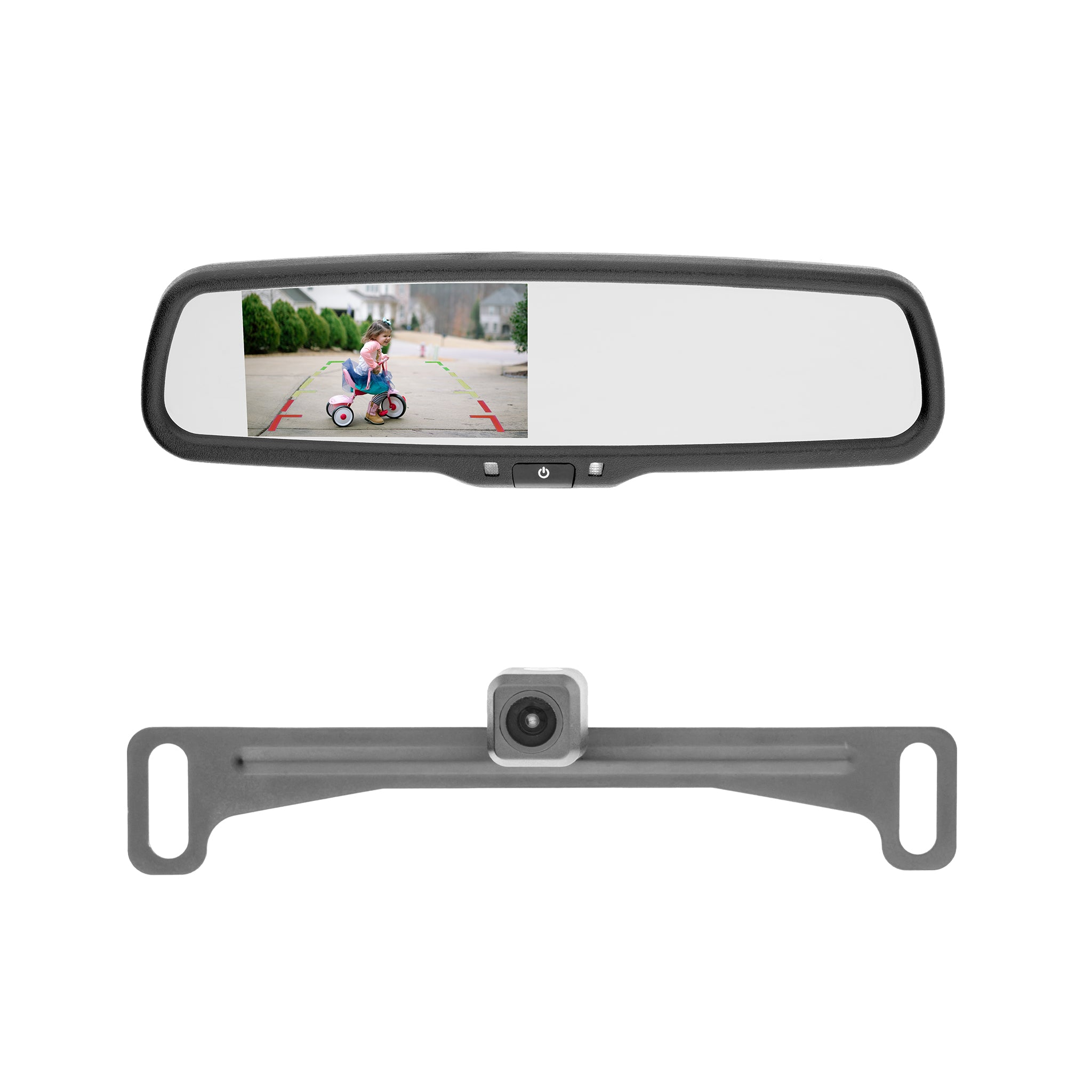 Backup Camera Kit with Rearview Mirror Monitor & License Plate Mount