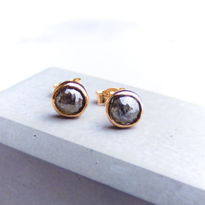 9ct Rose Gold and Grey Diamond Stud Earrings
