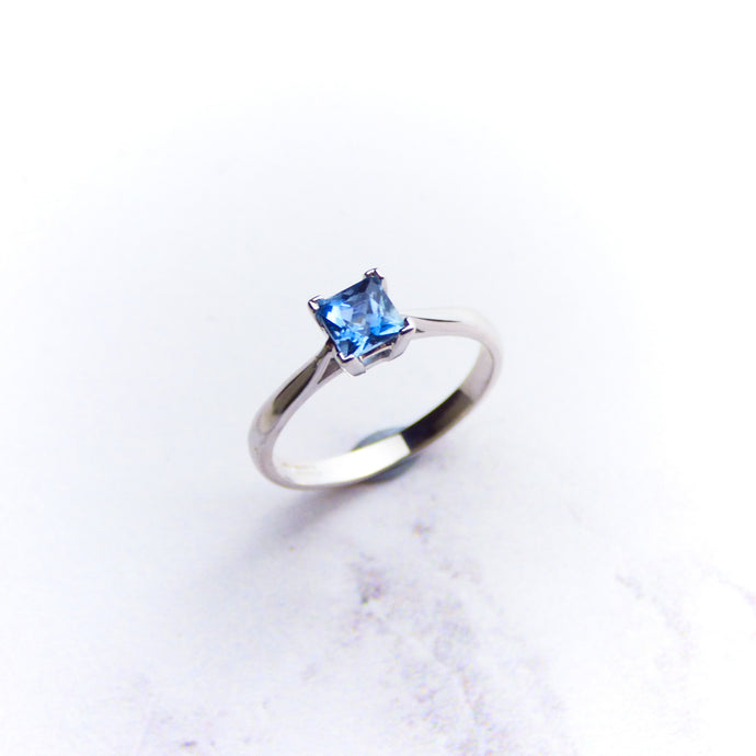 9ct White Gold Princess Cut Aquamarine Ring