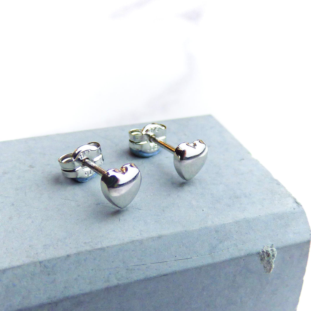 White Gold Heart Studs