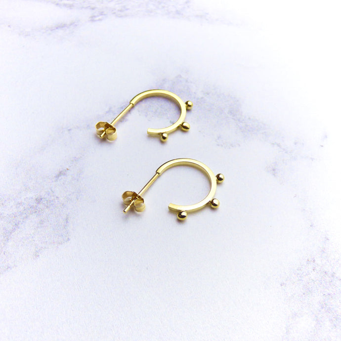 9ct Yellow Gold Bead Hoop Earrings