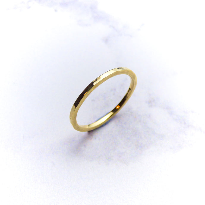 9ct Yellow Hammered Ring