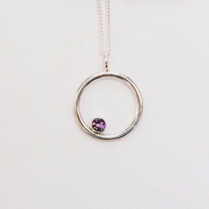 Amethyst and Silver Circle Birthstone Pendant