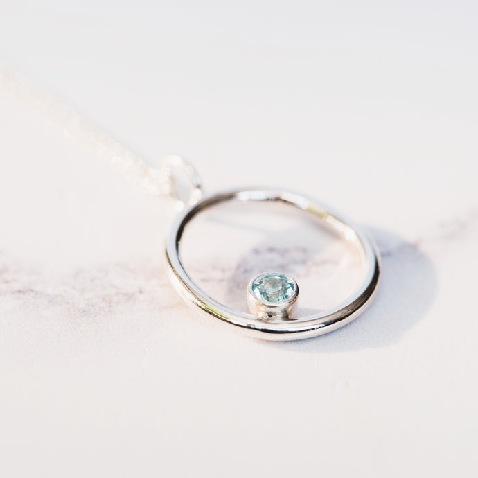 Aquamarine and Silver Circle Birthstone Pendant