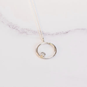 Cubic Zirconia and Silver Circle Birthstone Pendant