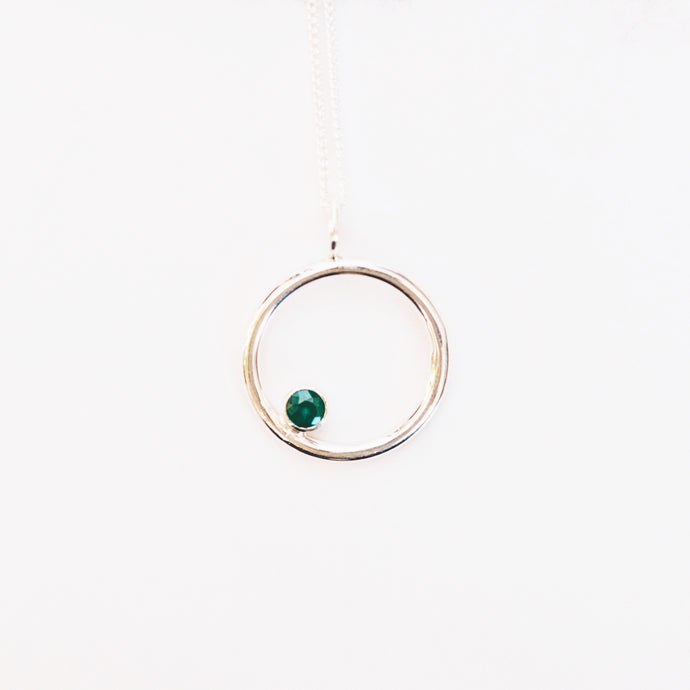 Emerald and Silver Circle Birthstone Pendant