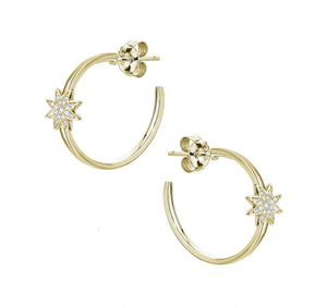Gold Nova Star Hoop Earrings