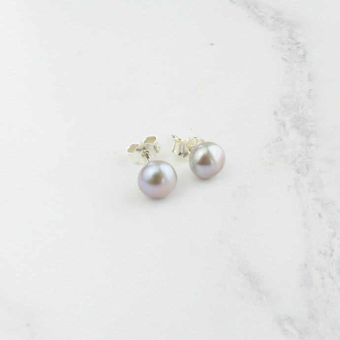 Small Pale Grey Pearl Stud Earrings