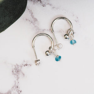 Silver Hoop Earrings with Birthstone