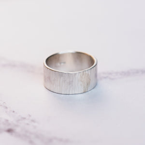 Silver Hammered Silver 10mm Ring